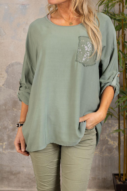 Aisha topp - Paljettlomme - Khaki