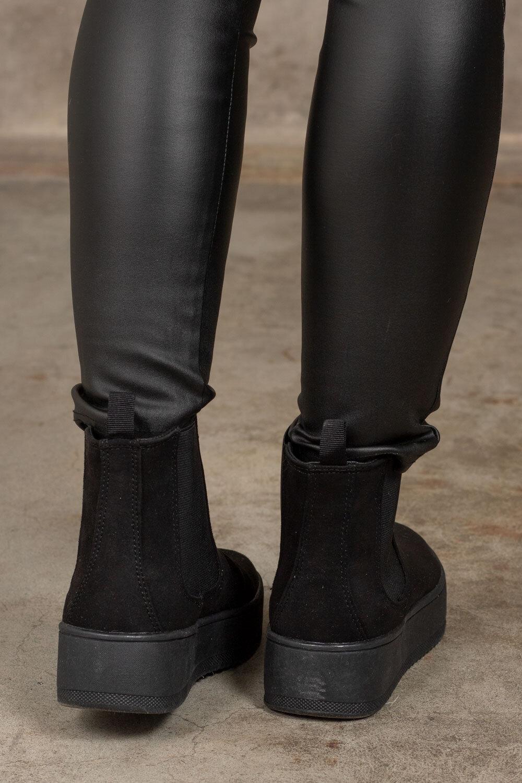Ankelstøvler i semsket imitasjon - Svart