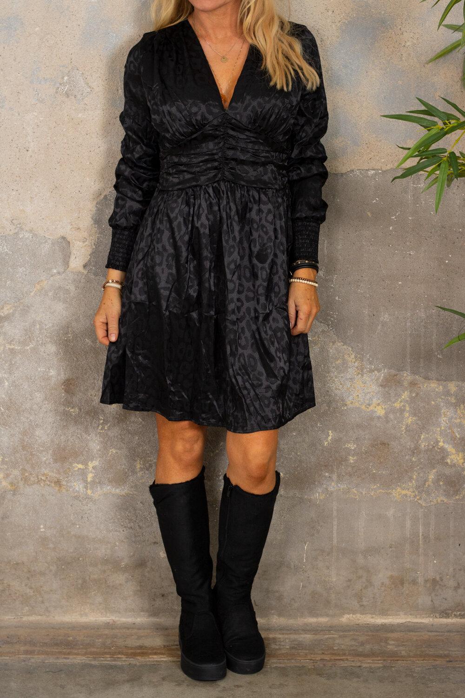 Antonia kjole - Leopardmønster - Svart