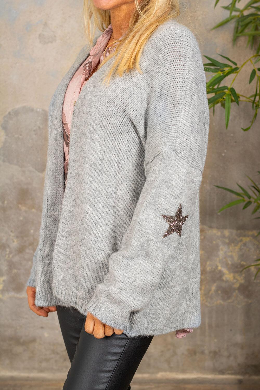 Beverly strikket cardigan - stjerner - Lysegrå