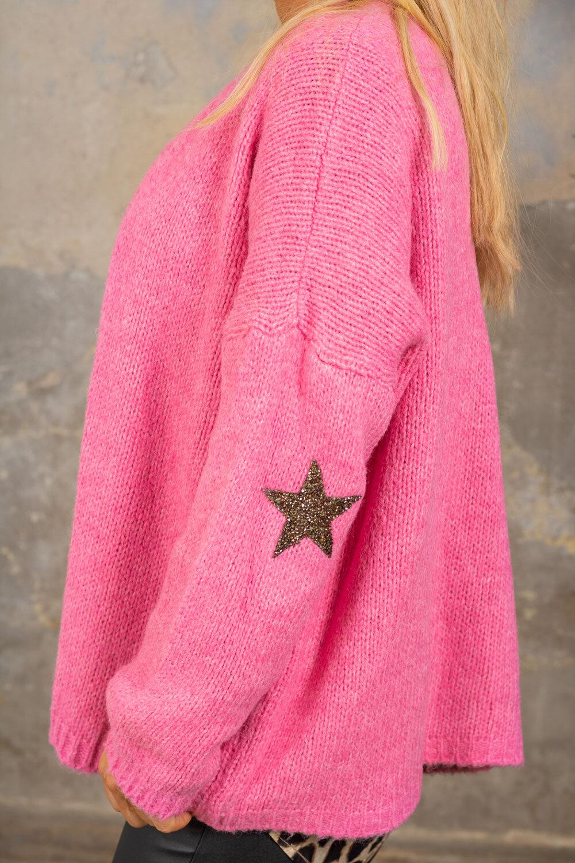 Beverly strikket cardigan - stjerner - Rosa