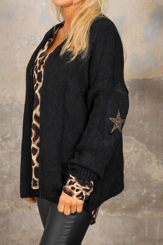 Beverly strikket cardigan - stjerner - svart