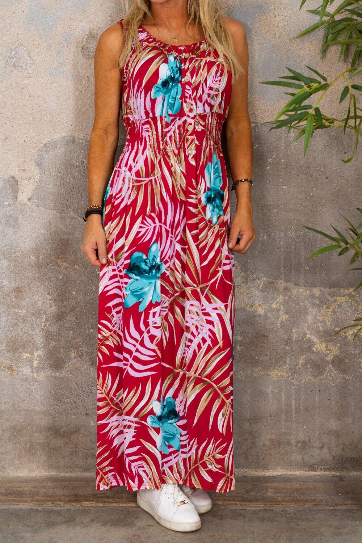 Blanche lang kjole - tropisk - rød