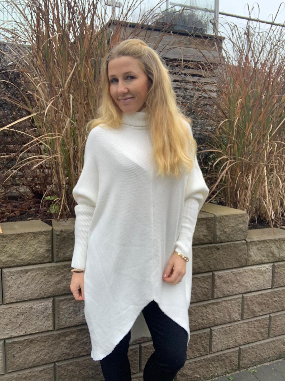 Bonnie - Strikket genser med polokrage - Cream