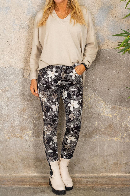 Bukser 90089 - Blomster & blader - Grå