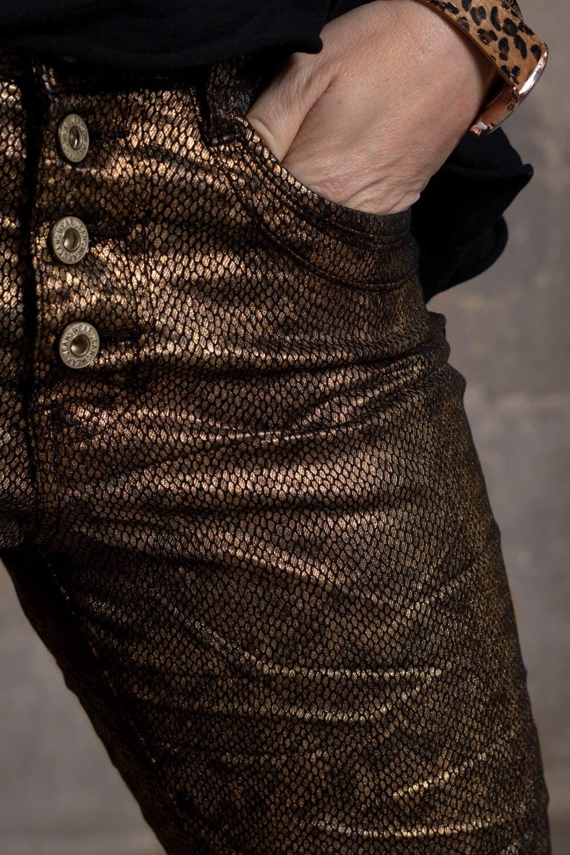 Bukser JW5160 Glitrende slangemønster Gull Fanny Michel