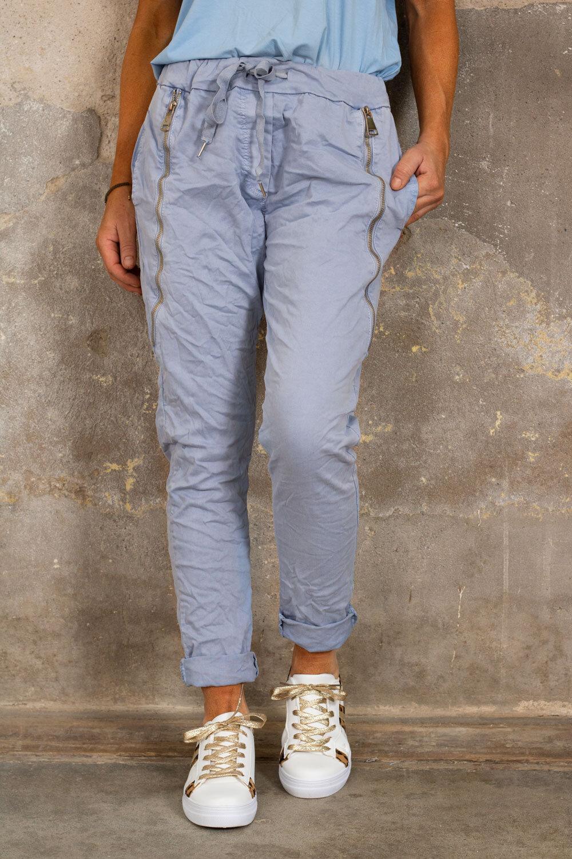 Bukse med glidelås - Dusty Blue