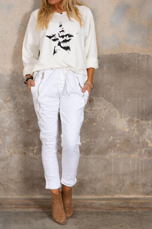 Bukse med glidelås - Hvit