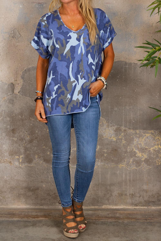 Cajsa t-skjorte - Kamuflasje - Blå