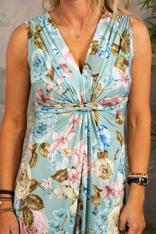 Carly Dress - Blomster med knute - Tåkegrønn