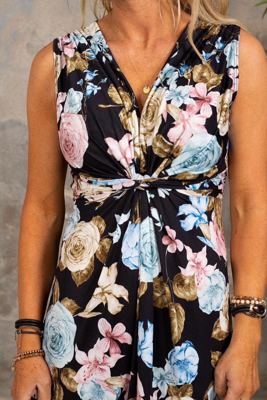 Carly Dress - Blomster med knute - Svart