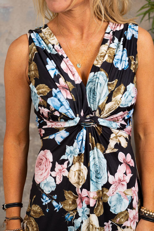 Carly lang kjole - Blomster - Svart