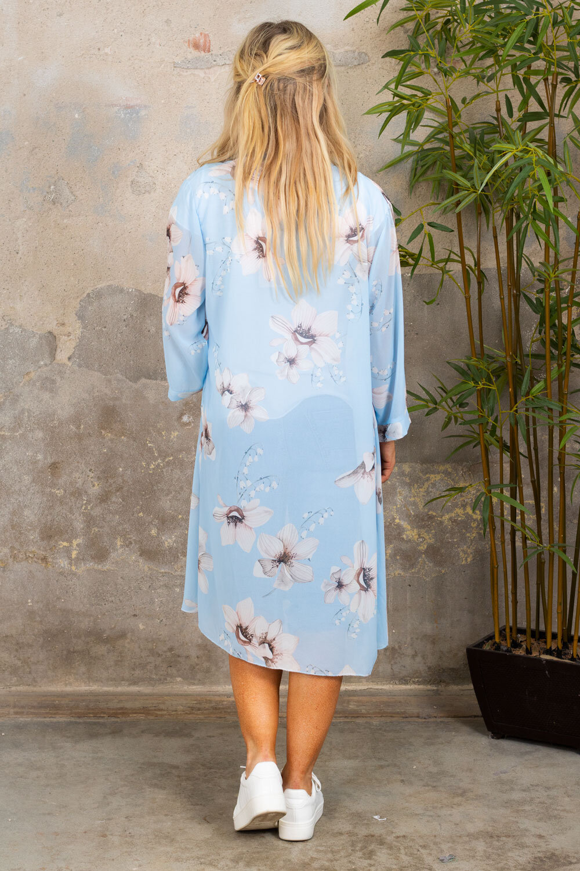 Cassie Kimono - Blommor - Sky blue
