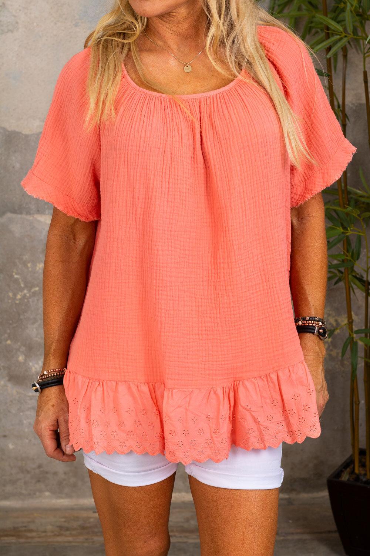 Christa-topp - Blonder og vaffel - Peach