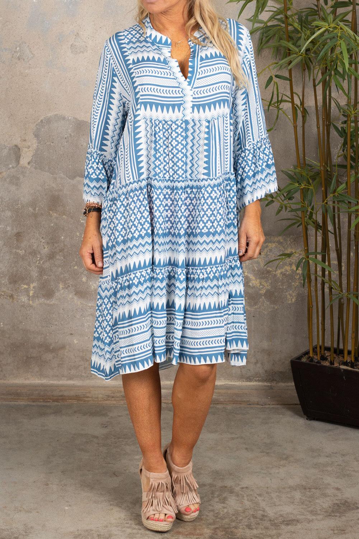 Cindy kjole - Mønstret - Blå