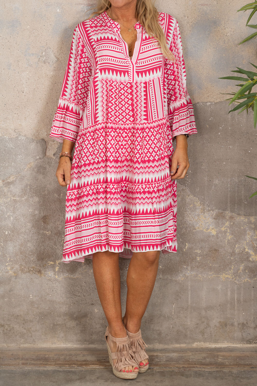 Cindy kjole - Mønstret - Cerise