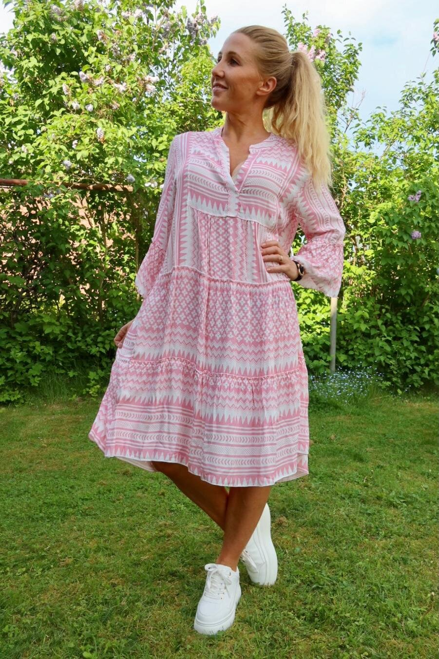 Cindy kjole - Mønstret - Rosa