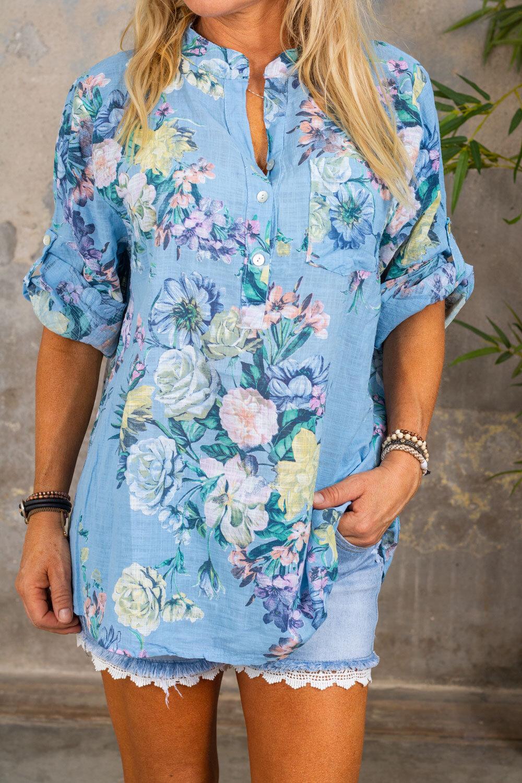 Cora Bluse - Blomster - Blå