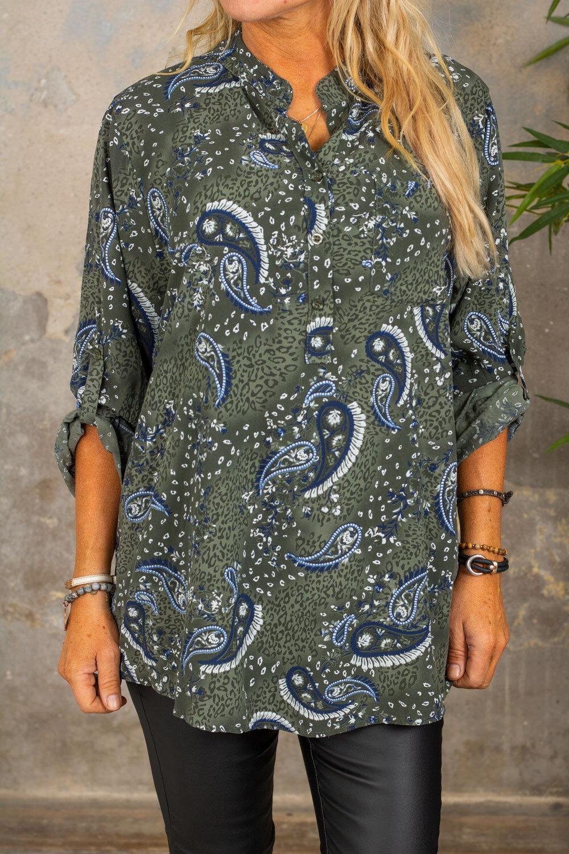 Cora bluse - Paisley - Khaki