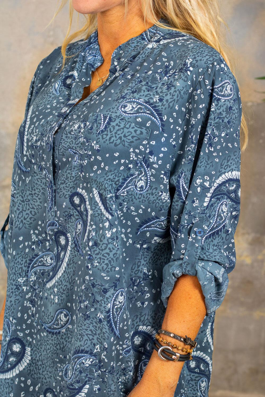 Cora bluse - Paisley - blå