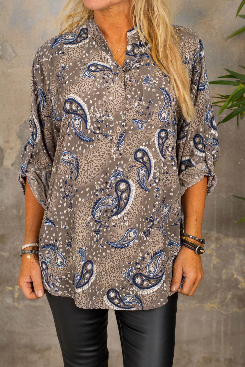 Cora bluse - Paisley - Taupe