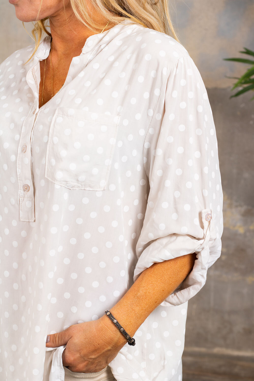 Cora-bluse - prikket - Beige