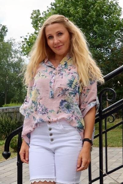 Cora Bluse - Blomster - Rosa