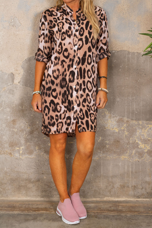 Ebony lang skjorte - Leopardmønster - Rosa