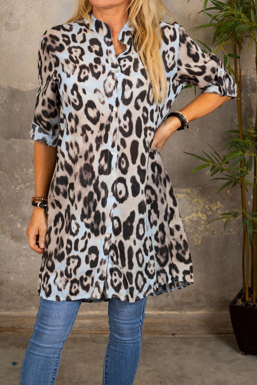 Ebony lang skjorte - Leopardmønster - Lyse blå
