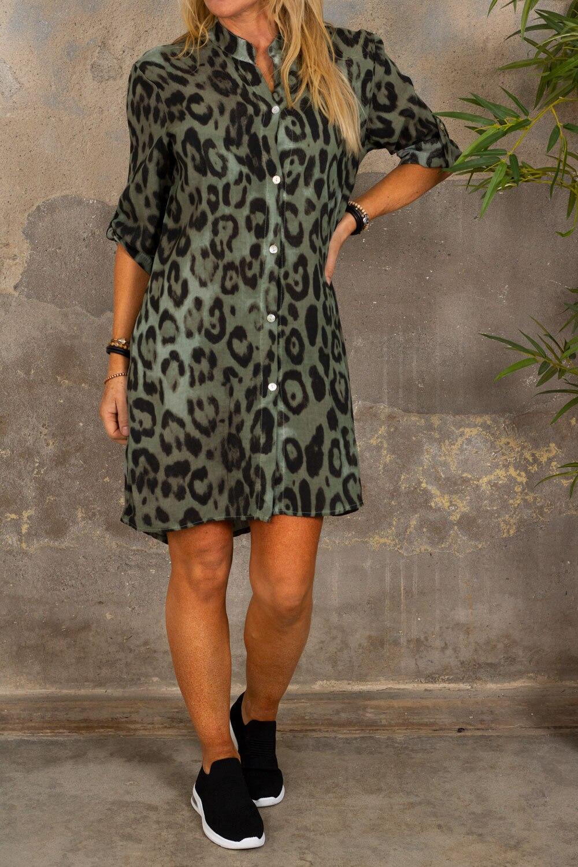 Ebony lang skjorte - Leopardmønster - Khaki