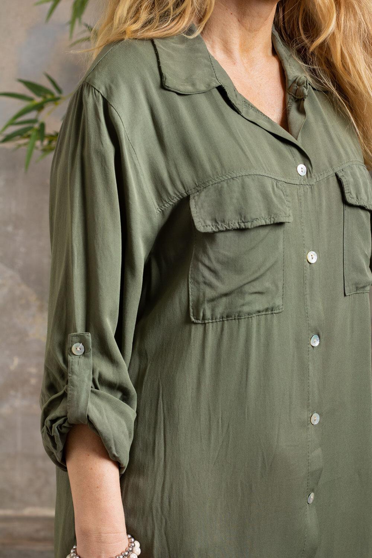 Elaine lang skjorte - Brystlommer - Khaki