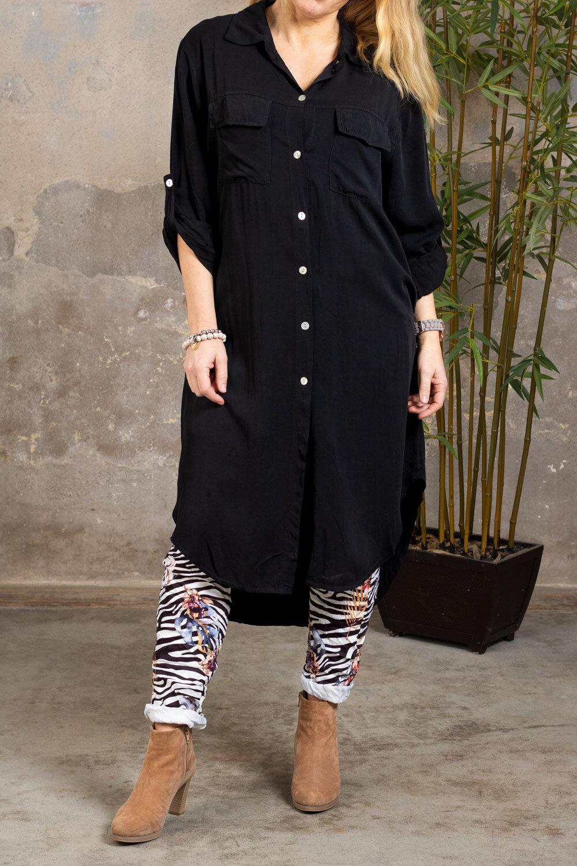 Elaine lang skjorte - Brystlommer - Svart