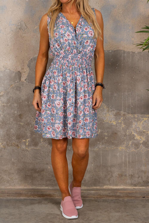 Embla kort kjole - Roser - Blå