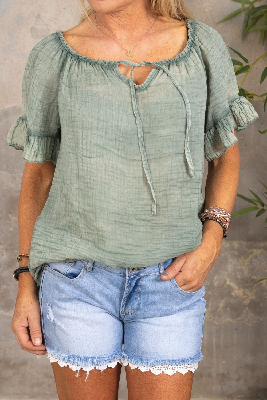 Emmie-bluse - Med slips - Khaki