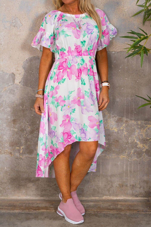 Estelle kjole - Store blomster - Krem / Rosa