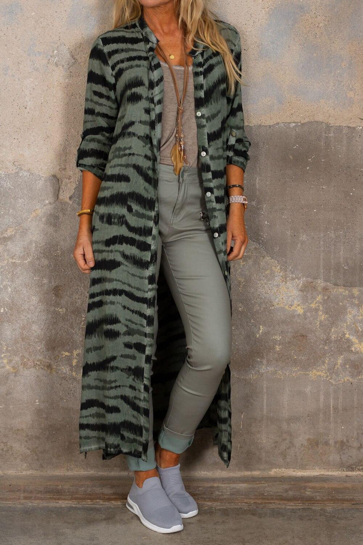 Felicia lang skjorte - sebra - kaki