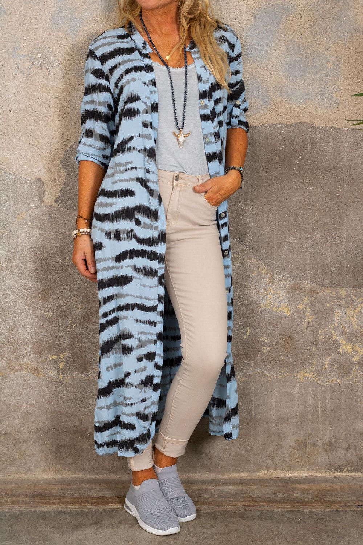 Felicia lang skjorte - sebra - Blå