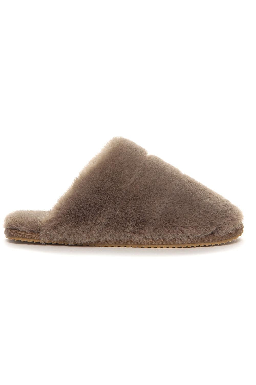 Tøfler i fuskepels - Taupe