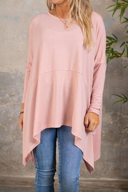 Gabby Oversize genser - Lengre sider - Rosa