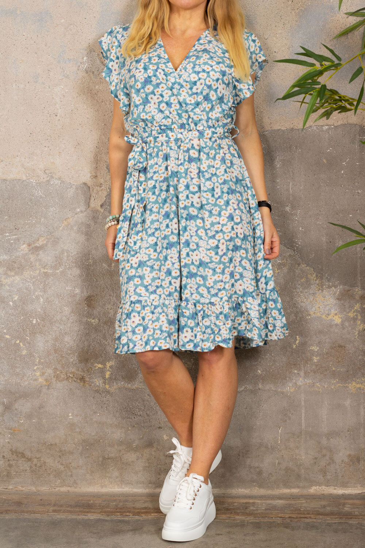 Gabby kjole - Floral & Ruffles - Blå