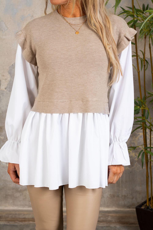 Gwen - Genser med bluse - Taupe