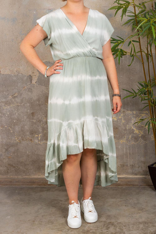 Hanna - Kjole med volanger - Batik - Khaki