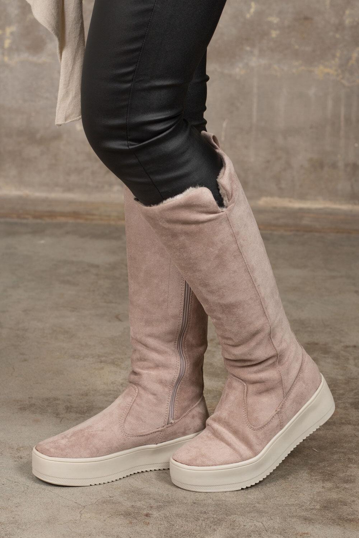 Høye støvler i imitert semsket skinn - Beige