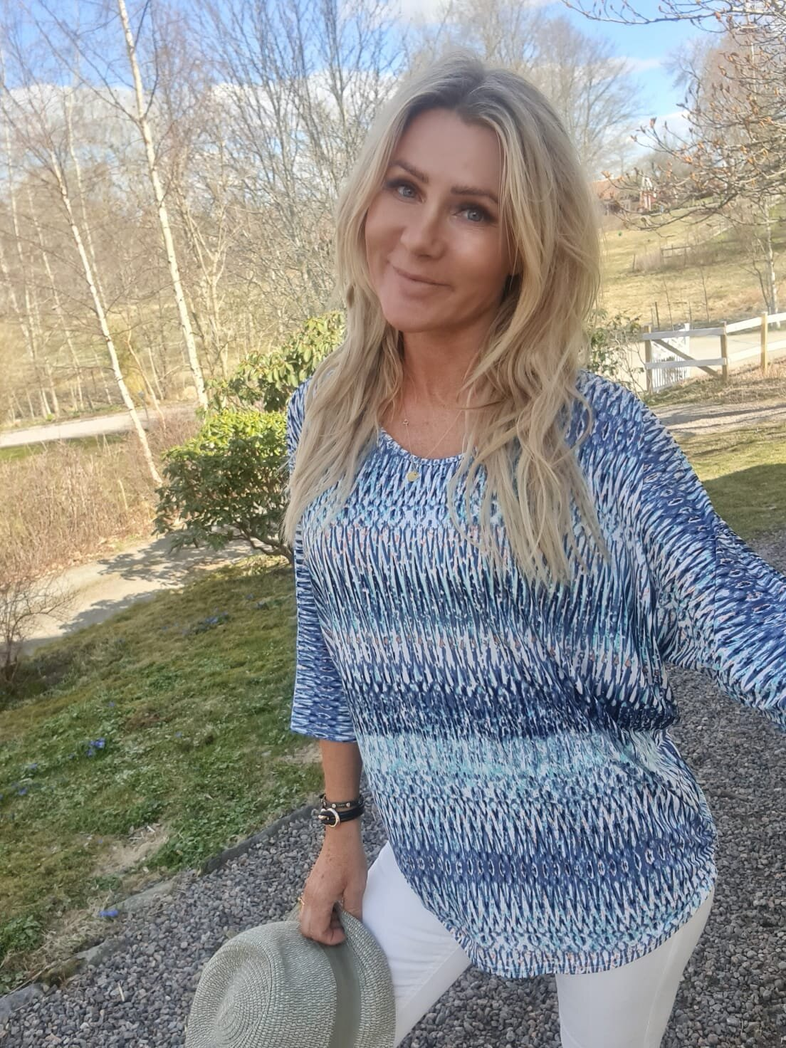 Isadora Topp - Mønstret - Blå