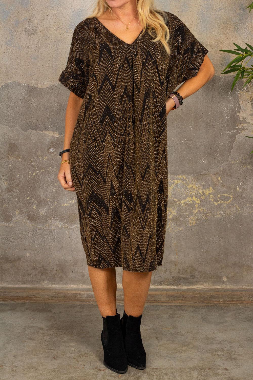 Isadora Glitter kjole - Sikksakk - Gull