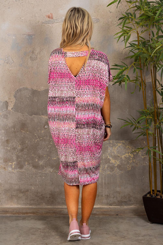 Isadora V-hals kjole - Mønstret - Rosa