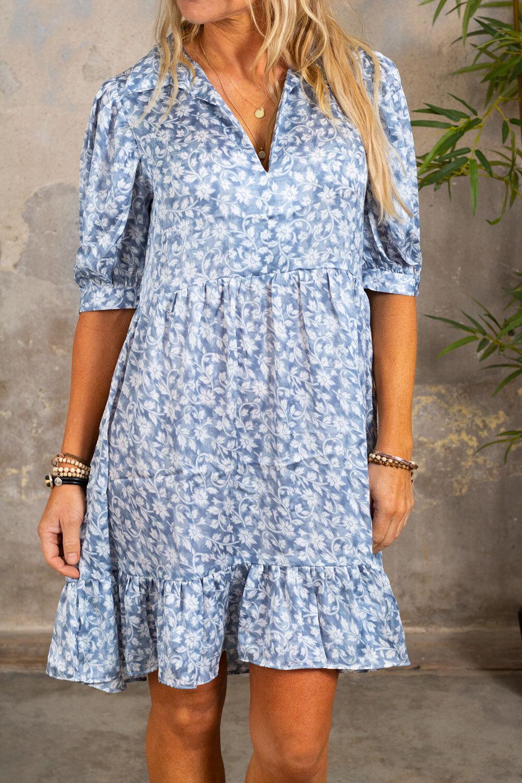 Janet tunika / kjole - Blomstermønster - Blå
