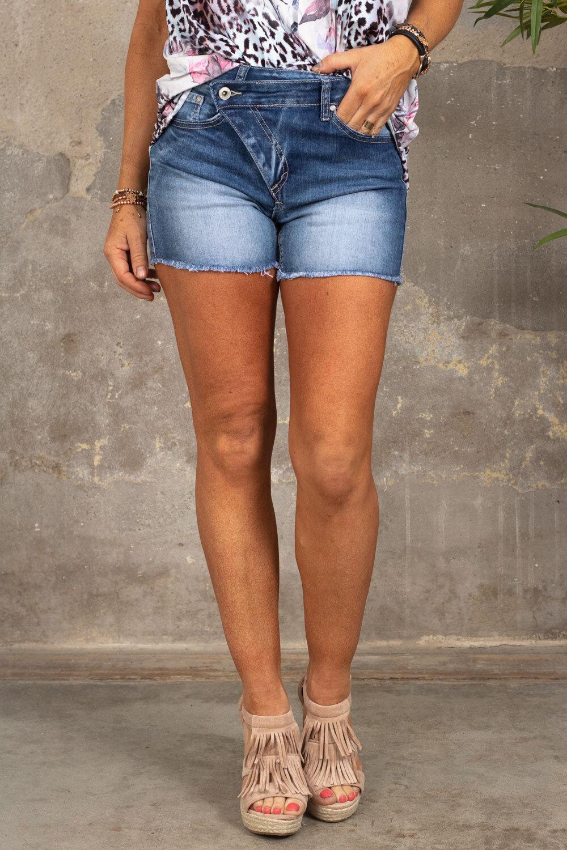 Kortermet shorts - 1854-1 - Denim