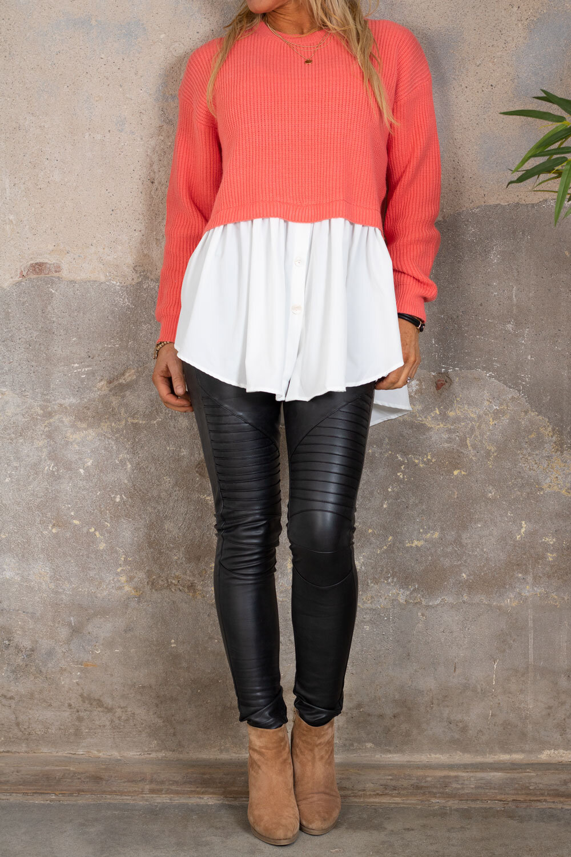 Jenny genser - Skjorte nederst - Corall