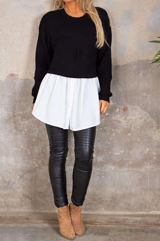 Jenny genser - Skjorte nederst - Svart